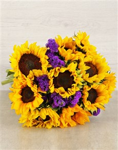 flowers: Sunflower and Statise Bouquet!