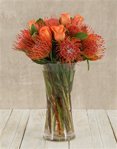 flowers: Pincushions & Roses in Flair Vase!