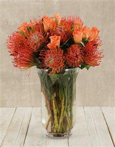 flowers: Pincushions & Roses in Hurricane Vase!