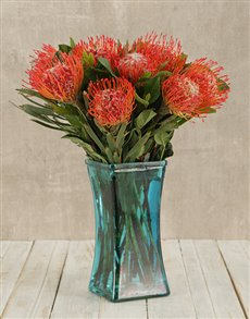 flowers: Pincushions in Square Blue Vase!