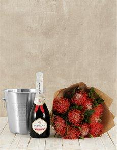 flowers: Pincushion Bouquet, JC Le Roux White & Ice Bucket!