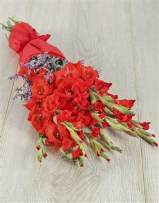flowers: Red Gladioli And Latifolia Bouquet!