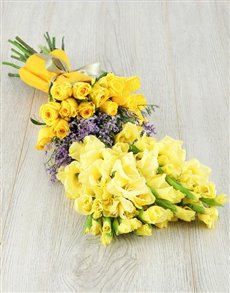 flowers: Yellow Gladiolus and Rose Bouquet!