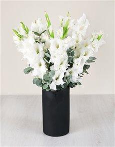 flowers: White Gladiolus in Chalk Board Vase!