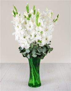 flowers: White Gladiolus in Green Flair Vase!