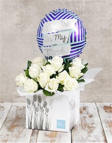 gifts: On My Mind Balloon and White Rose Box!