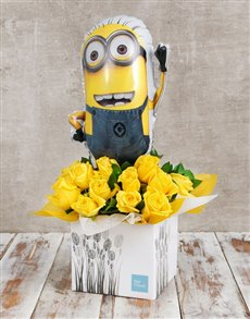 gifts: Despicable Me Balloon and Rose Box!
