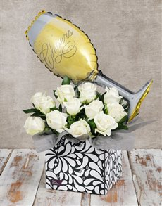 gifts: Champagne Balloon and Rose Box!
