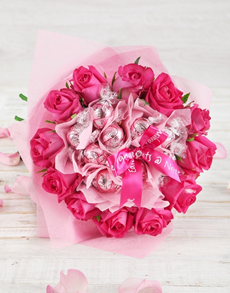 flowers: Pink Bliss Rose and Lindt Bouquet!