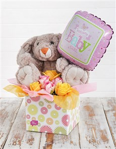 flowers: Rabbit Roses and Baby Girl Balloon Box!