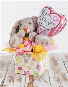 flowers: Rabbit Roses and Love You Balloon Box!