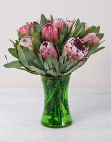 flowers: Mixed Proteas in Green Vase!