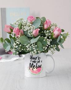 flowers: One In A Melon Mug Arrangement!