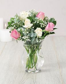 flowers: Roses and Million Star in Hurricane Vase!