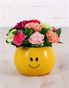 gifts: Mixed Carnations in Smiley Pot!