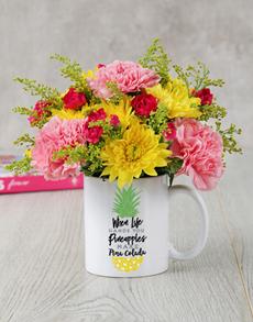 flowers: Pina Colada Mug Arrangement!