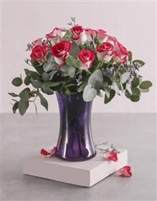 flowers: Variegated Roses in Purple Lady Vase!