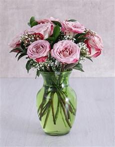 flowers: Variegated Roses in Lime Green Vase!