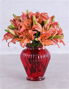 flowers: Sunset Lilies in a Red Lantern Vase!