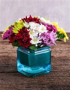 flowers: Sprays in Square Blue Vase!