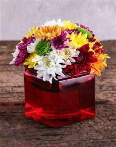 flowers: Sprays in Square Red Vase!