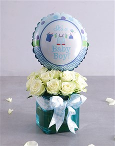 gifts: Baby Boy Rose and Balloon Arrangement!