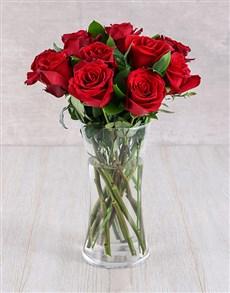 flowers: Red Ethiopian Roses in Glass Vase!