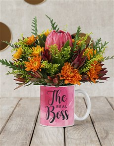 gifts: Protea Blossoms in Real Boss Mug!