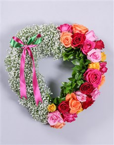 flowers: Mixed Rose and Million Star Funeral Heart!