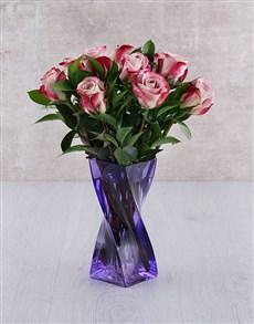 flowers: Variegated Roses in Purple Twisty Vase!