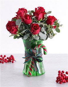 flowers: Red Candy Cane Rose Vase!