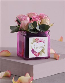 gifts: Pink Love Roses in Square Vase!