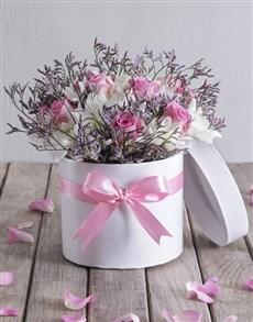 flowers: Pretty Pink Flowers in Hat Box!