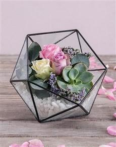 gifts: Rose Succulent Terrarium!