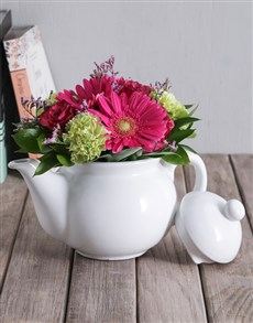 flowers: Mixed Flowers in White Teapot!