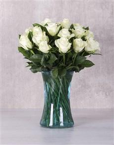 flowers: White Majestic Rose Arrangement!