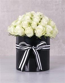 gifts: White Roses in Ribbon Stripe Box !