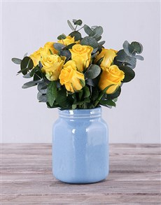 gifts: Yellow Roses in Blue Vase!