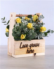 flowers: Breathtaking Yellow Rose in Wooden Crate!