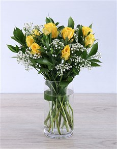 gifts: Yellow rose arrangement in a vase!
