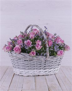 gifts: Dreamy Lilac Roses in Willow Basket!