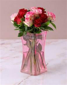 flowers: Mixed Roses in Lady Pink Vase!