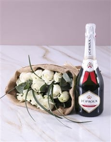 flowers: Bubbly and White Roses!