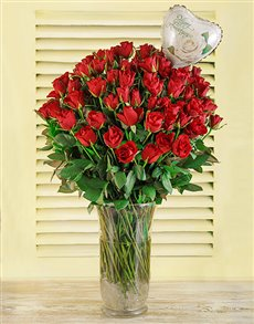 flowers: 100 Red Roses in a Vase with Balloon!