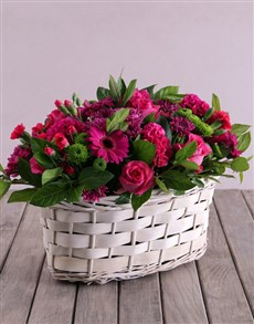 flowers: Shades of Pink and Purple in Basket!