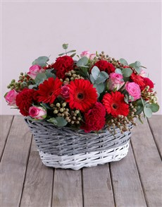 flowers: Red Touch of Pink Basket!