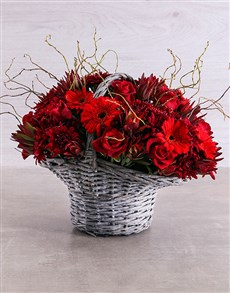 flowers: Dripping in Red Basket!