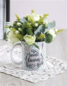 gifts: Some Bunny Loves you Floral Mug Arrangement!