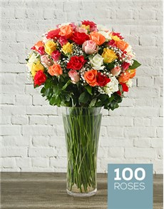 flowers: 100 Mixed Roses in a Tall Glass Vase!