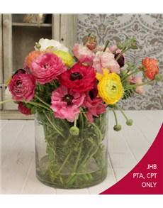 flowers: Ranunculus in a Cylinder Vase!